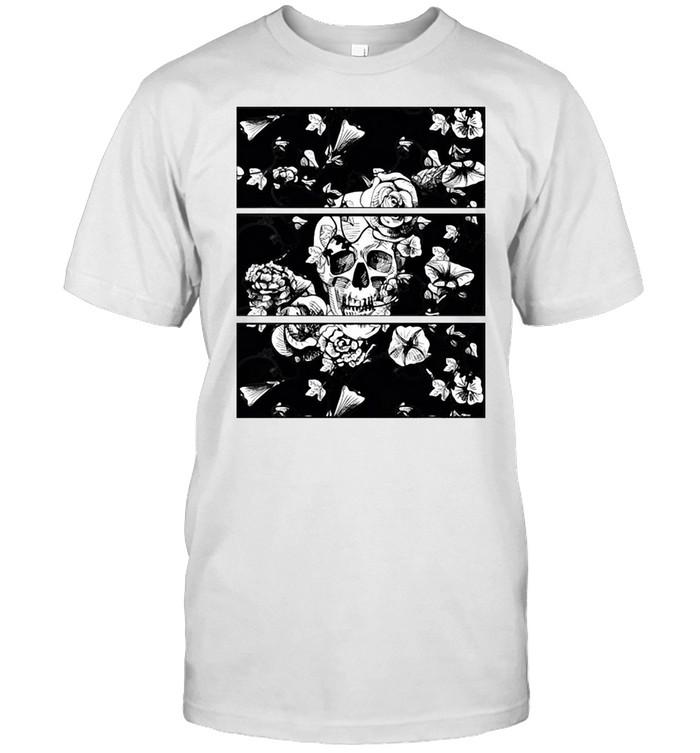 Womens Floral Skull Flowers Nu Goth Emo Punk T-shirt Classic Men's T-shirt