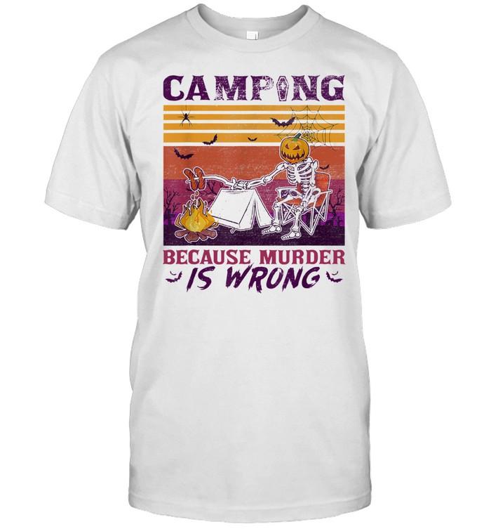 Halloween Skeleton Pumpkin Camping because murder is wrong vintage shirt Classic Men's T-shirt