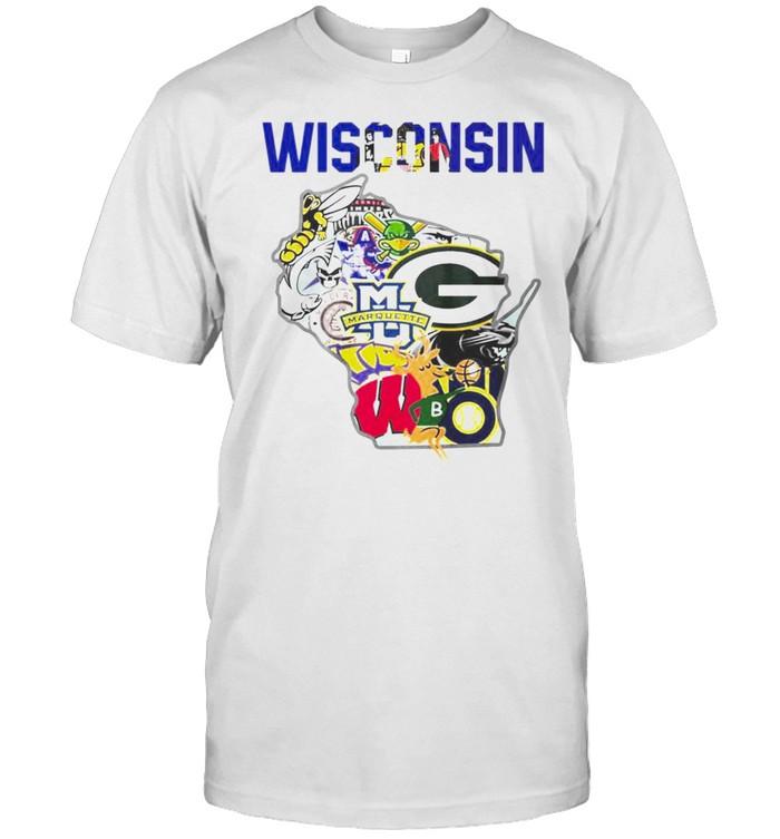 Wisconsin flag map sport logo shirt Classic Men's T-shirt