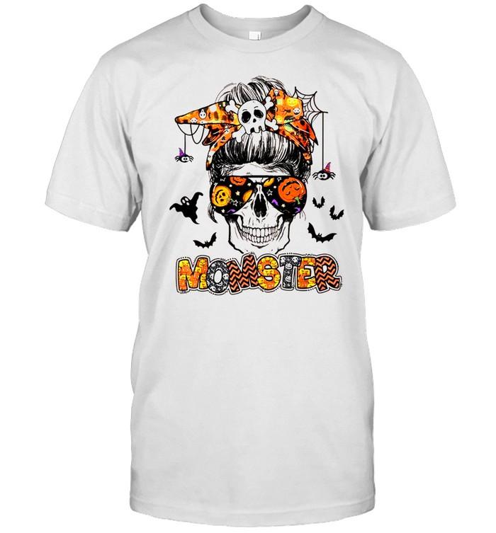 Momster Halloween Costume Skull Mom Messy Hair Bun Monster shirt Classic Men's T-shirt