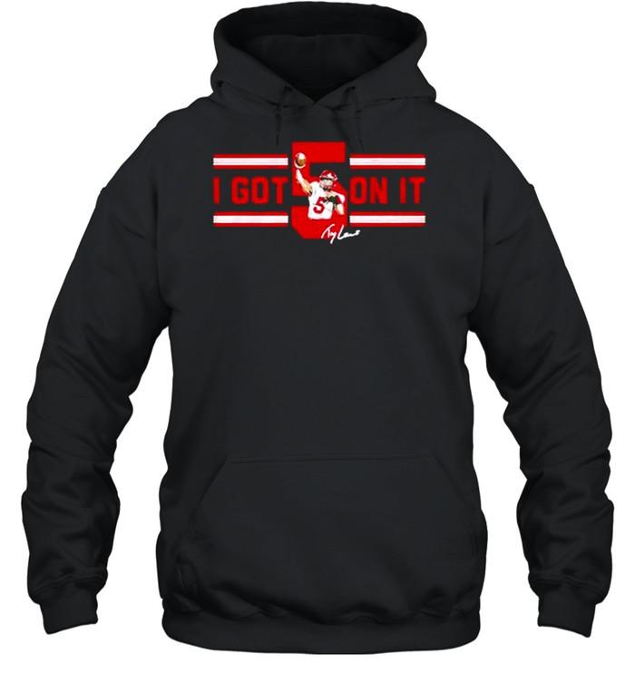 trey lance i got 5 on it signature shirt unisex hoodie