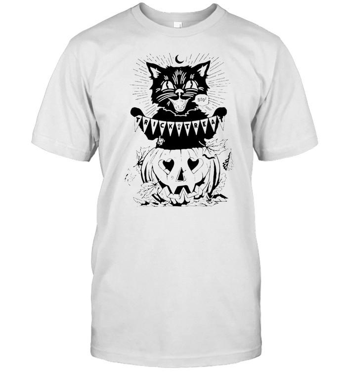 Cat Trick Or Treat Pumpkin Halloween T-shirt