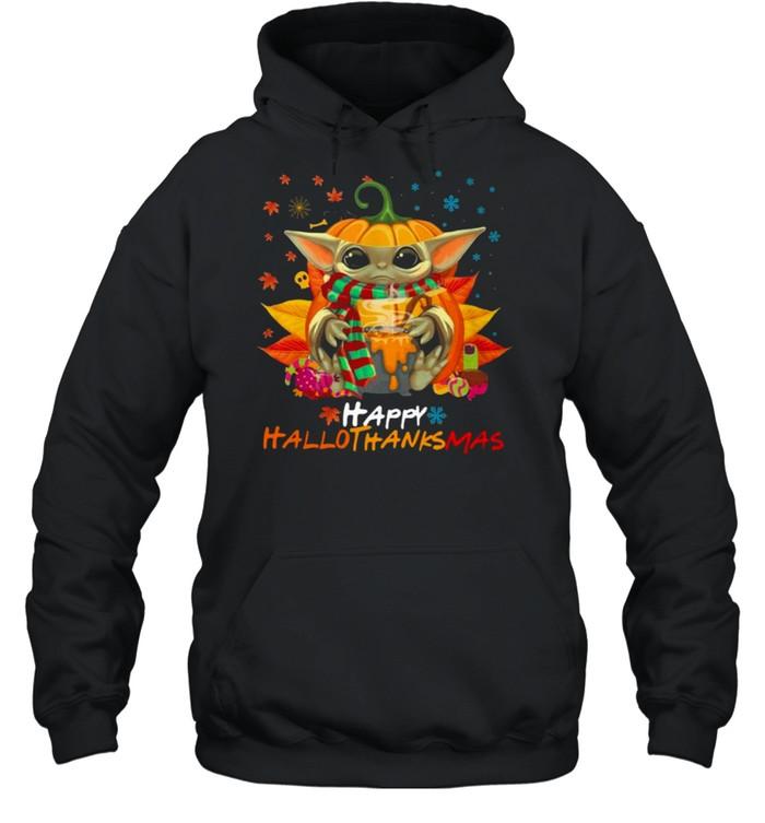 baby yoda hug pumpkin happy hallothanksmas  unisex hoodie