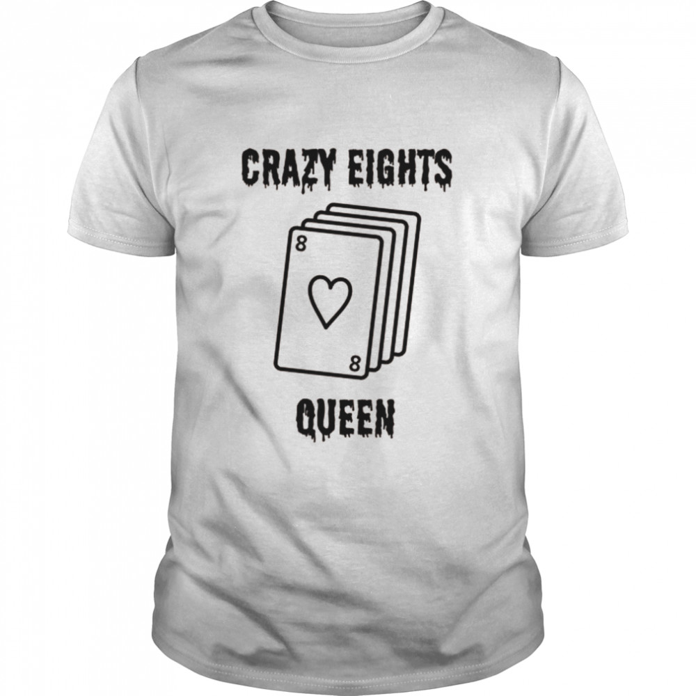 Crazy Eights Queen Card Game Playing Halloween spooky  Classic Men's T-shirt