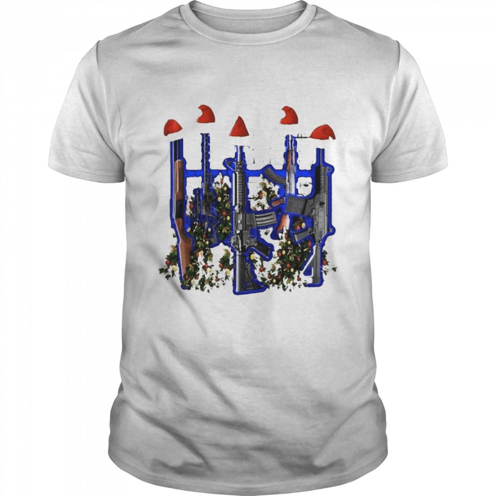 Guns Tree Gift Festival Christmas Present Gun T-shirt