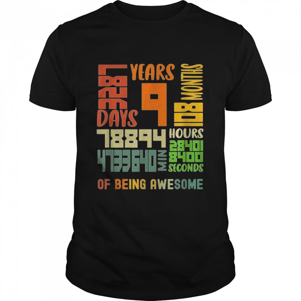 9 Years Old 108 Month 3287 Days Vintage Math Geek Birthday Shirt