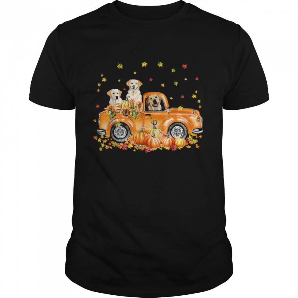Labrador Retriever Riding Truck Pumpkin Autumn Leaves Fall T-Shirt