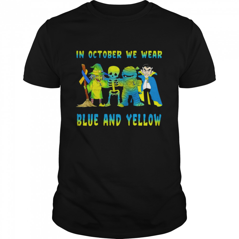 Skeleton In October we wear blue and yellow shirt Classic Men's T-shirt