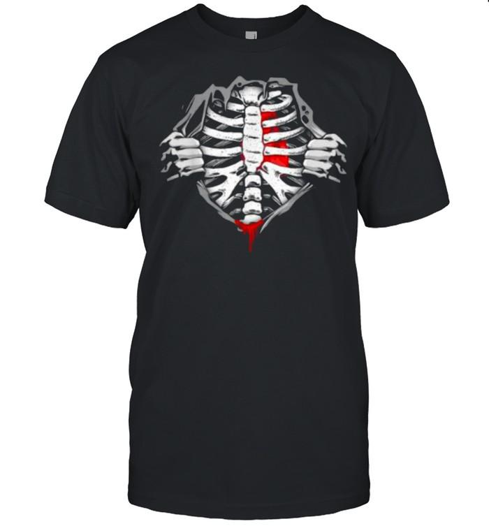 Halloween Skeleton Ribcage Zombie Costume Tee Shirt