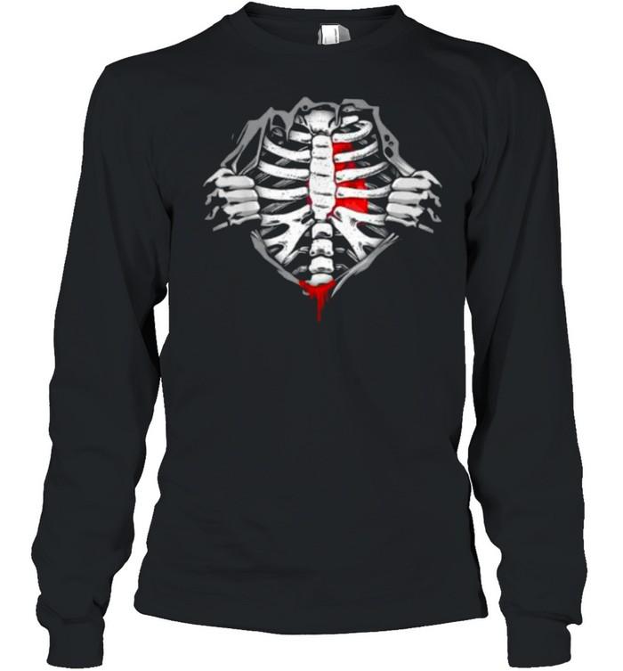 Halloween Skeleton Ribcage Zombie Costume Tee  Long Sleeved T-shirt