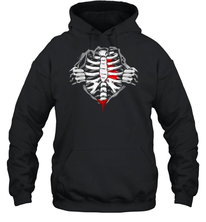 Halloween Skeleton Ribcage Zombie Costume Tee  Unisex Hoodie
