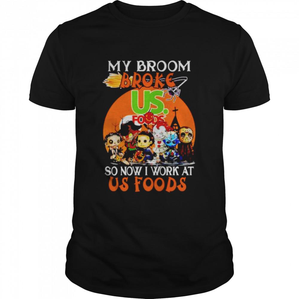 Horror Halloween chibi my broom broke so now I work at Us Foods shirt