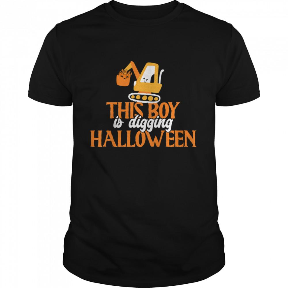 Kids Jack O' Lantern Excavator This Boy Is Digging Halloween T- Classic Men's T-shirt